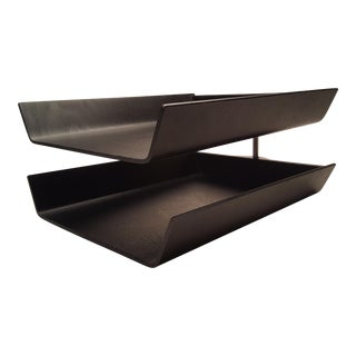 Mid Century Florence Knoll Molded Plywood Pivot Double Desk Letter Trays For Sale
