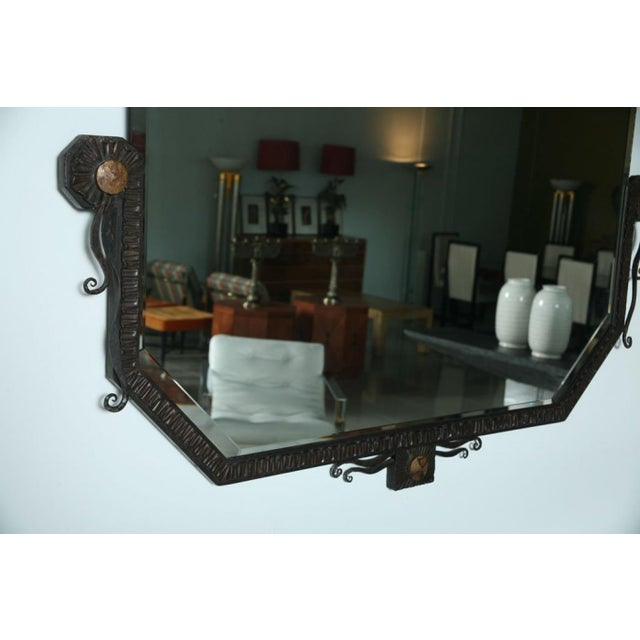 Pair of French Art Deco Hammered Steel and Bronze Mirrors, Paul Kiss For Sale In Miami - Image 6 of 9