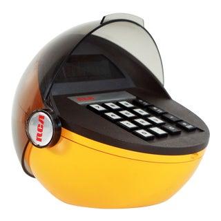 1970's Vintage Rca Mid Century Modern Yellow Space Helmet Desk Calculator For Sale