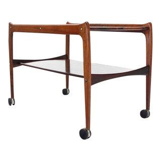 Vintage Mid Century Danish Modern Rosewood Rolling Serving Cart on Wheels For Sale