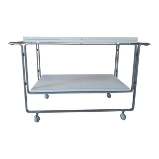 Vintage Modern Chrome and White Laminate Extending Bar/Serving Cart For Sale