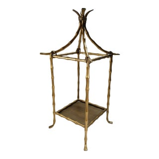 Hollywood Regency Style Gold Faux Bamboo Pagoda Pedestal For Sale