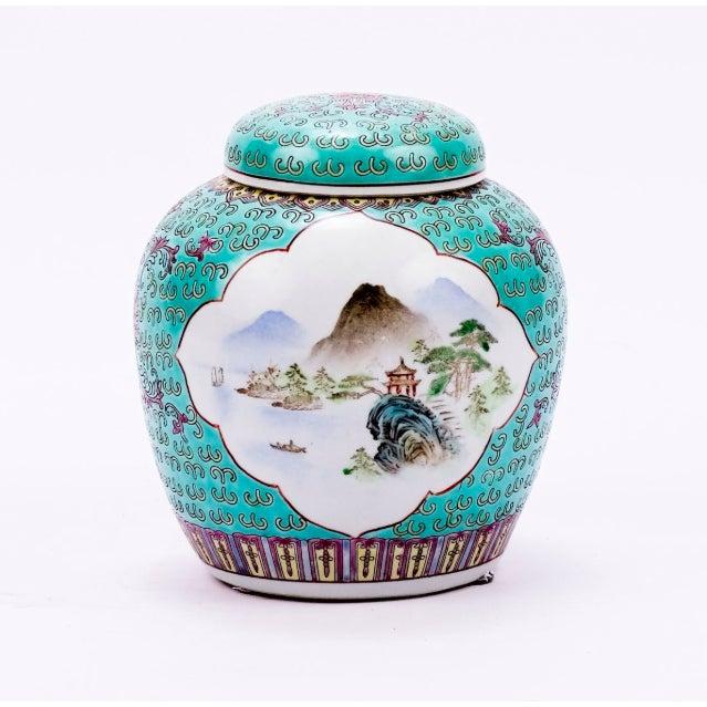 Asian Teal Lidded Ming Porcelain Jar Landscape Madallion For Sale - Image 3 of 3