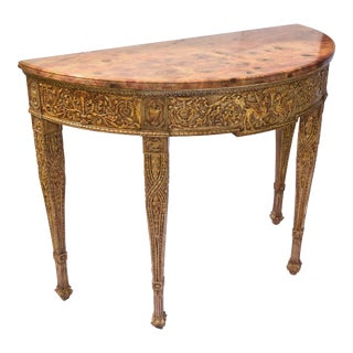 19th C. English Demilune Marble Top Console For Sale