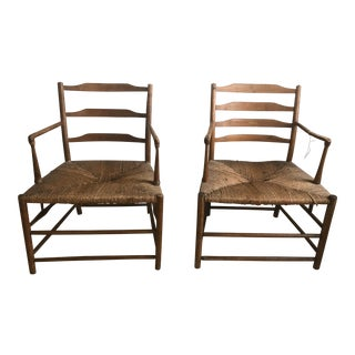 19th C. Vintage Provincial French Original Rush Seat Chairs- A Pair For Sale