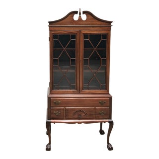 Mahogany Chippendale Style Ball & Claw Cabinet