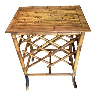 1970s Boho Chic Bamboo Side Table With Wine Rack For Sale