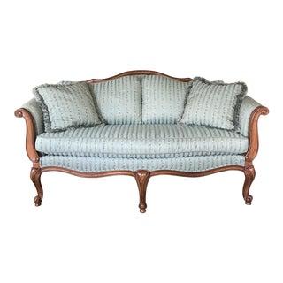 Ethan Allen French Robin Egg Blue Upholstered Settee For Sale