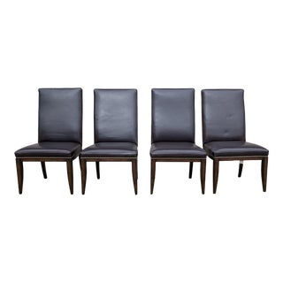 Modern Thomasville Dark Brown Leather Dining Chairs- Set of 4 For Sale