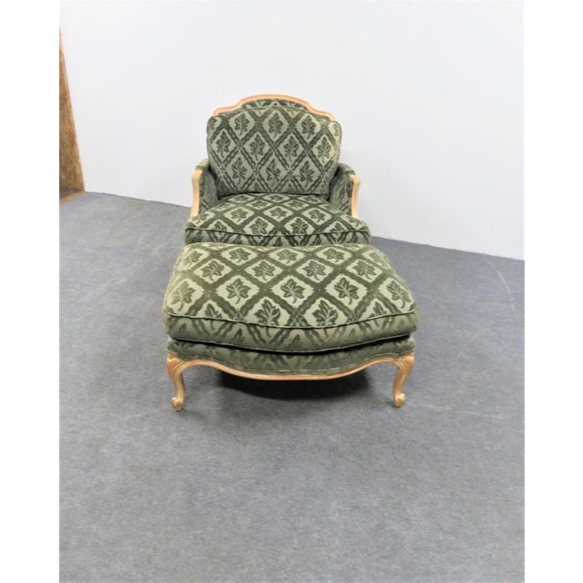 French Louis XV Style Pickled Finish Bergere & Ottoman For Sale - Image 3 of 12