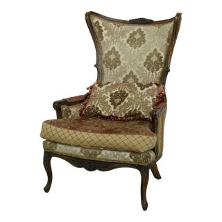 Carol Bolton Design French Upholstered Wing Chair For Sale