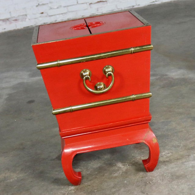 Chinese Red Lacquer and Brass Accent Table Removable Ice Chest Style on Hoof Foot Base For Sale - Image 10 of 13