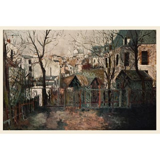 """1950s Maurice Utrillo """"Renoir's Garden"""", First Edition Period Cottage Lithograph For Sale"""
