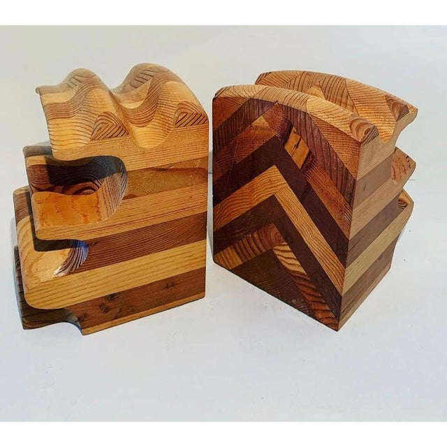 Contemporary Pair of Wood Bookends in the Manner of Don Shoemaker For Sale - Image 3 of 5