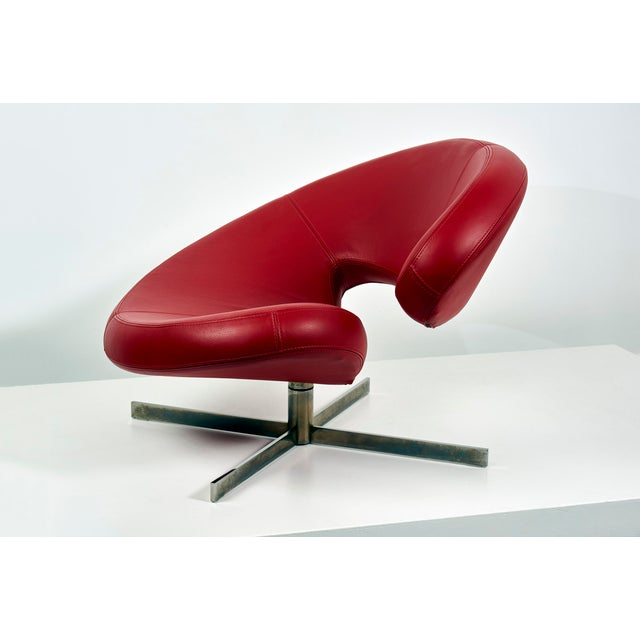 "Roche Bobois Swivel Chair ""Nuage"" by Robert Tapinassi With Maurizio Manzoni for Roche Bobois For Sale - Image 4 of 9"