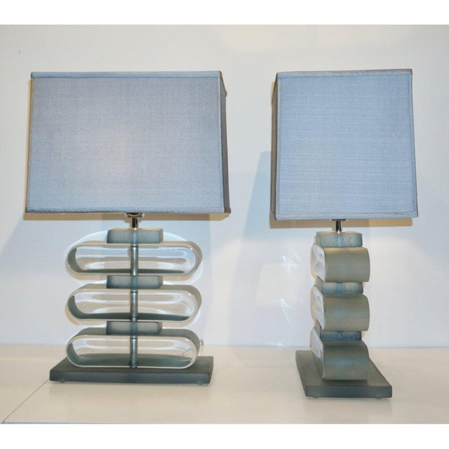 Italian Modern Nickel and Smoked Aqua Murano Glass Architectural Lamps - a Pair For Sale - Image 4 of 10