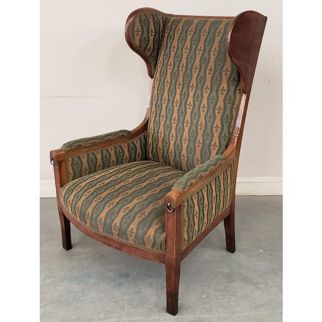 Early 20th Century French Country Provincial Upholstered Maple Wood Wingback Armchair For Sale - Image 9 of 9