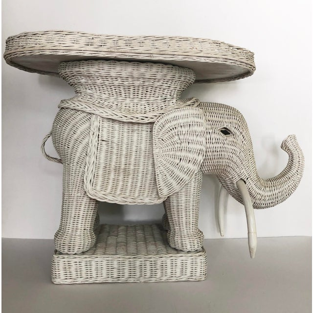 Vintage Wicker Elephant Garden Stool Side Table For Sale - Image 13 of 13