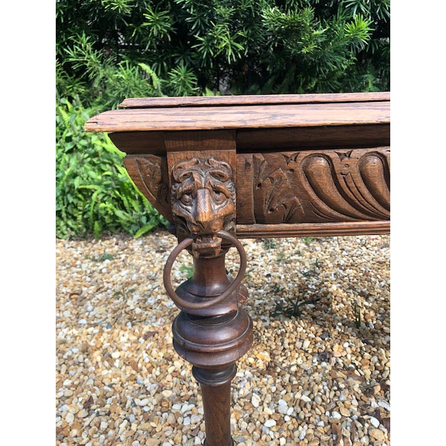 Wood 19th Century Center/ Library Table For Sale - Image 7 of 9