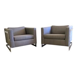Floating Cube Club Chairs - a Pair
