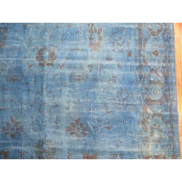 """Cobalt Blue Overdyed Vintage Rug - 6'4"""" x 10'6"""" For Sale - Image 5 of 10"""