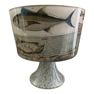 John Derian Attributed Decoupage Footed Cachepot With Nautical Theme For Sale