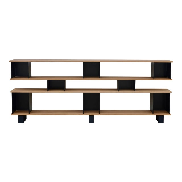 "Design Frères Low ""Horizontal"" Matte Black and Polished Oak Shelving Unit For Sale"