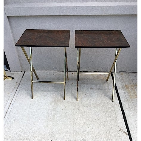 Hollywood Regency Style Tray Tables - Pair - Image 5 of 6