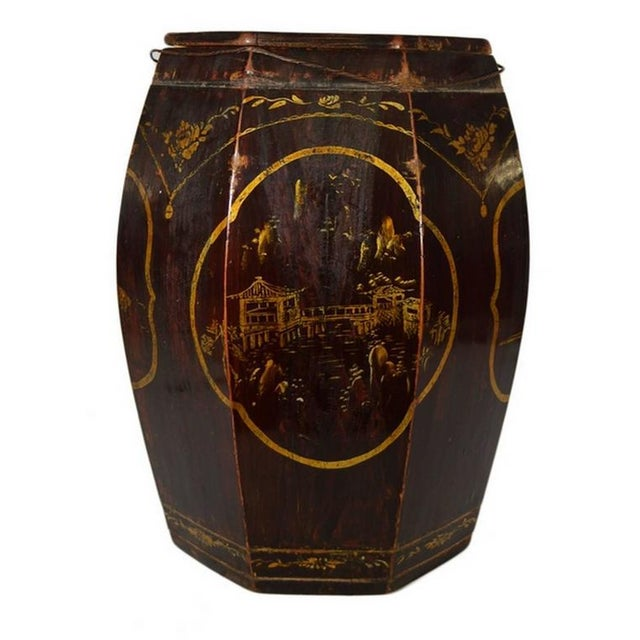 Hand-Painted Grain Storage Barrel With Medallions From, China, 19th Century For Sale In New York - Image 6 of 11