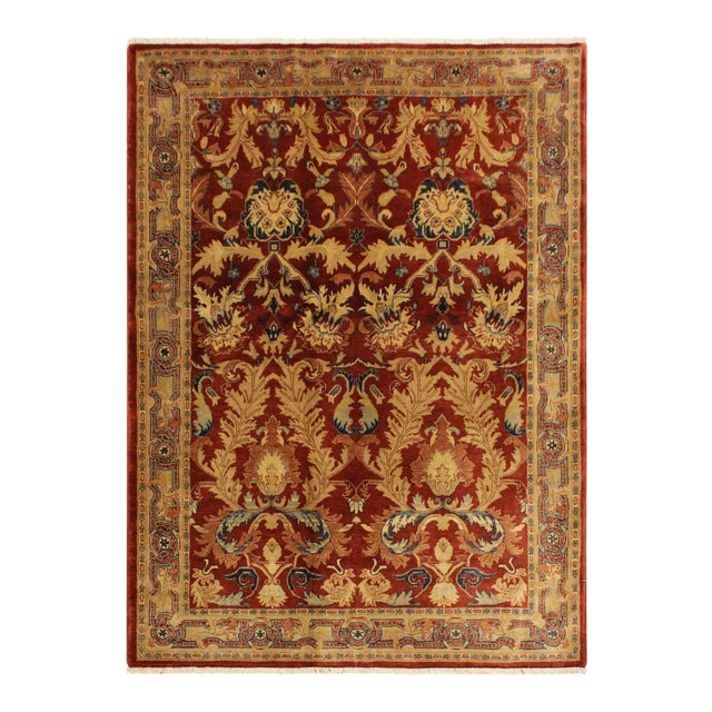 Istanbul Philomen Rust/Tan Turkish Hand-Knotted Rug -4'10 X 6'11 For Sale
