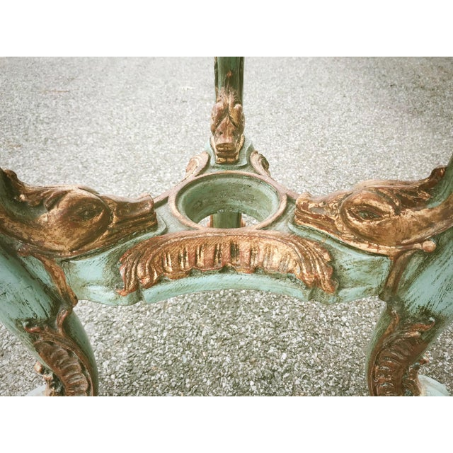 Turquoise Antique Venetian Occasional Table Carved and Polychrome With Marble Top For Sale - Image 8 of 11
