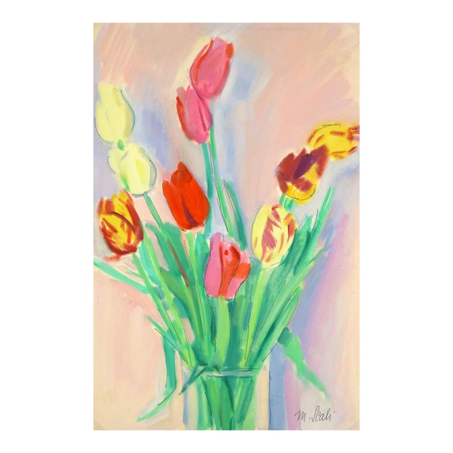 French Watercolor Painting - Tulip, C. 1960 - Image 1 of 4