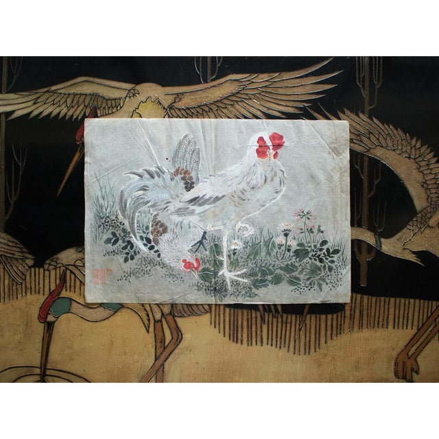 Late 19th Century Meiji Era Large Japanese Roosters Watercolor Painting For Sale - Image 11 of 13