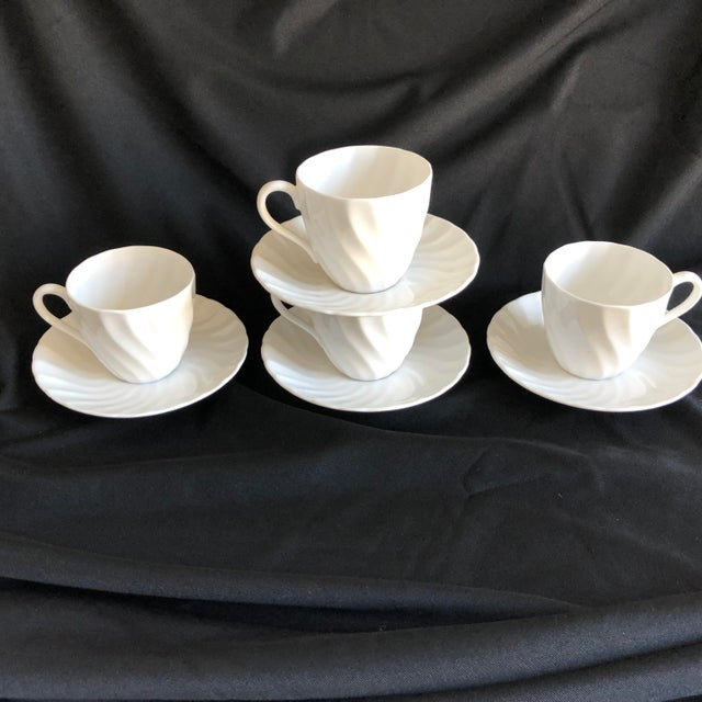 1960s Vintage Royal Tuscan by Wedgwood Cocoa /Teacups & Saucers S/4 For Sale - Image 5 of 7