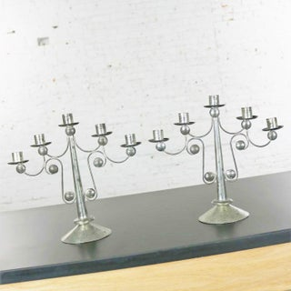 Pair of Punched Tin Candelabra From Mexico in the Style of William Spratling Preview