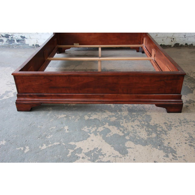 Henredon Aged Cherry Wood Queen Size Sleigh Bed For Sale - Image 9 of 11