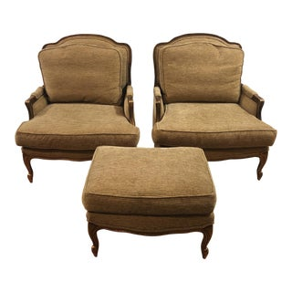 Custom Bergere Style Armchairs & Ottoman - Set of 3