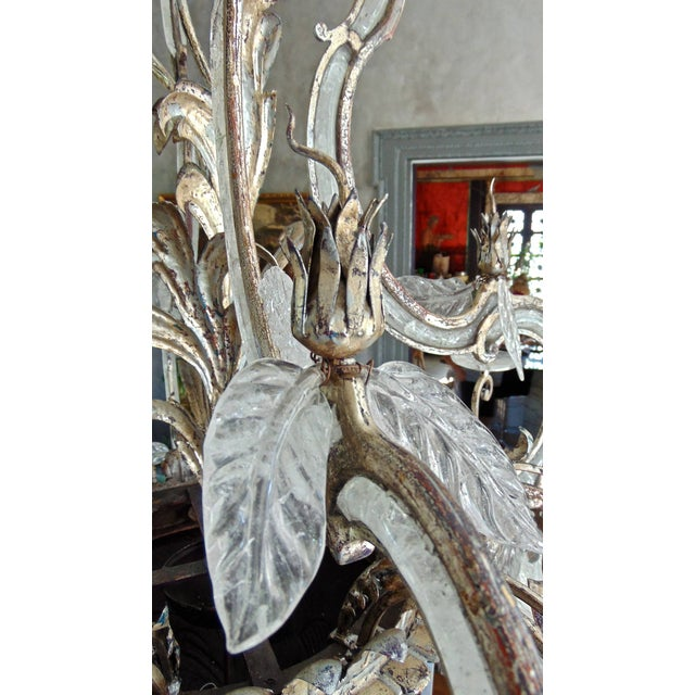 Large Silvered Iron and Rock Crystal, Eight-Arm Chandelier For Sale In Boston - Image 6 of 11