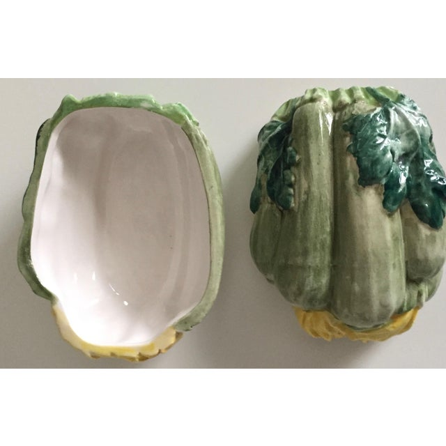 1960s Vintage Italian Faience Zucchini Box For Sale - Image 5 of 10