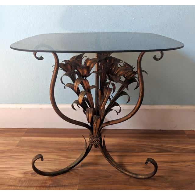 20th Century Hollywood Regency Gilt Tole Lily Flower Side Table For Sale - Image 11 of 11