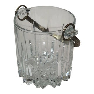 Italian Mid-Century Modern Glass Ice Bucket With Metal Handle For Sale