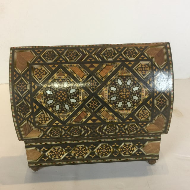 Handcrafted Inlaid Wood Moorish Jewelry Box For Sale - Image 11 of 13