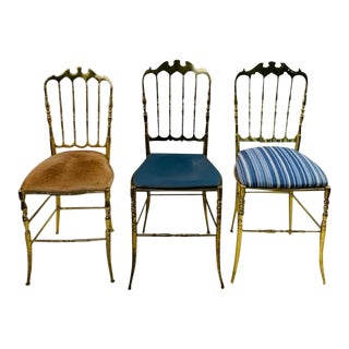 Vintage High Style Brass Chiavari Chairs For Sale