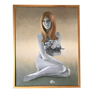 Framed Nude Painting on Canvas For Sale
