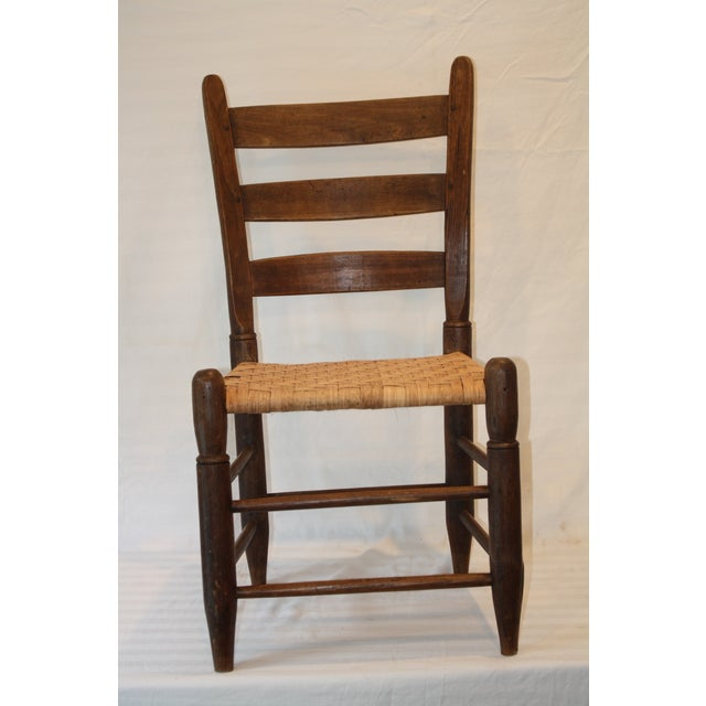 Rustic Ladder Back Chair With Split Oak Seat - Image 2 of 7