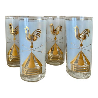 Vintage Traditional Farmhouse Tall Cocktail Glasses - Set of 4 For Sale