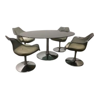 Saarinen-Style Tulip-Table Dining Set For Sale