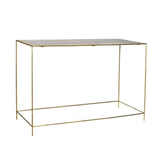 Faux Bamboo & Brass Console Table For Sale