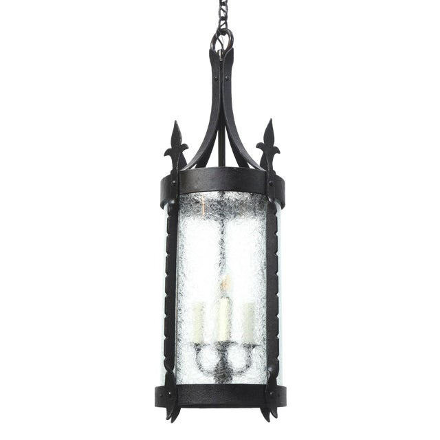 Wrought Iron Lantern with Curved Textured Glass For Sale