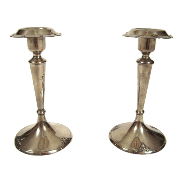 Pair of Sterling Silver Candlesticks by Shreve and Co., San Francisco For Sale